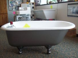 "4.5 ft x 30""<Br> Clawfoot <br>Silverdust Tub<br>$1,295.00"