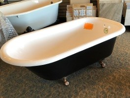 "5 ft. x 30"" Clawfoot Tub<br> White Interior, Matte Black Exterior<br> Pewter Metal Feet mfg. 4-4-1917 <br>$1,195.00"