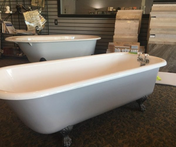 white tender grey clawfoot tub