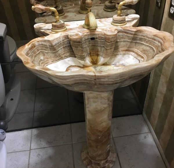 "Onyx Rococo Pedestal Sink 23"" wide x 31"" high<br>Price: $3500.00 neg."
